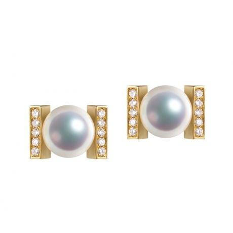 Boucles oreilles modernes forme rail. Or jaune, Diamants et Perles Akoya