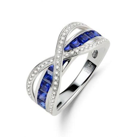 Bague sens de nos vies. Saphirs bleus, diamants et Or blanc