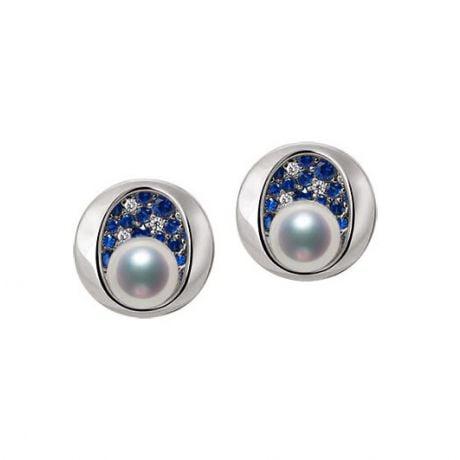 Boucle oreille perle Akoya I Constellation saphir diamant I Seiza