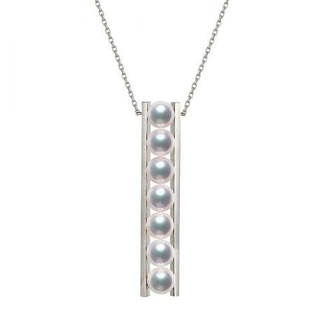 Pendentif 9 perles Akoya et or blanc. Disposition rail. Tsukushi
