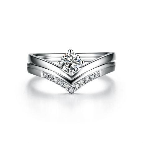 Anello di Fidanzamento Wonder Woman - Diamante Solitario Composto & Oro Bianco | Gemperles