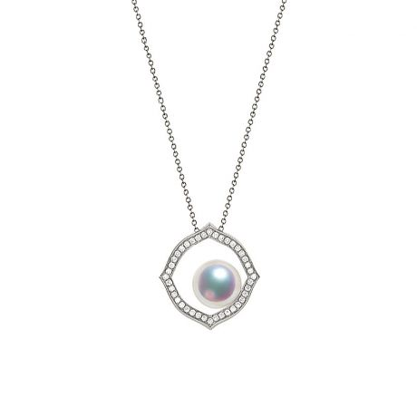 Pendentif or blanc perle culture Akoya, Diamant - Coco Chanel