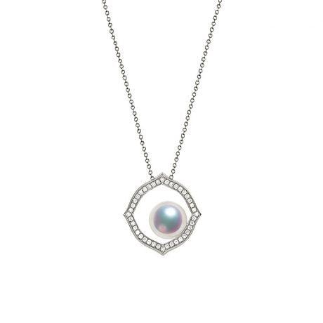 Ciondolo Coco - Oro Bianco 18k, Diamanti e Perla Akoya
