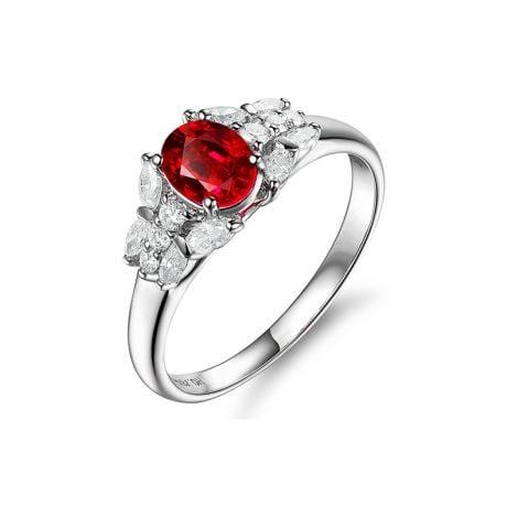 Anello di Fidanzamento Carlita - Oro Bianco, Rubino e Diamanti