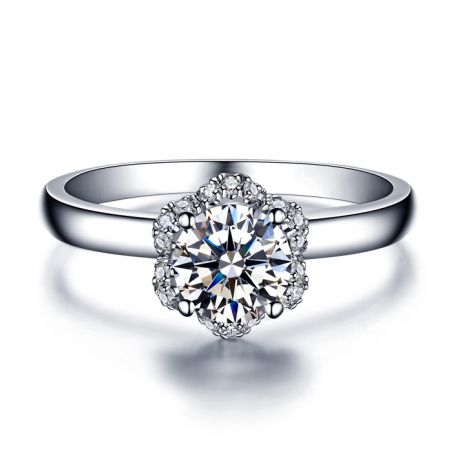 Solitaire Captivante Renoncule - Bague Diamanté & Or Blanc | Gemperles