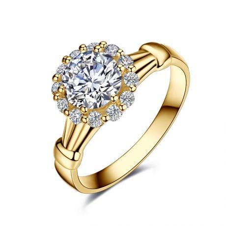 Bague de fiancailles Hortensia - Solitaire accompagné, or jaune, diamants