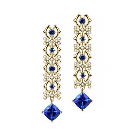 Boucle d oreille tanzanite & saphir bleu, diamant - Or jaune