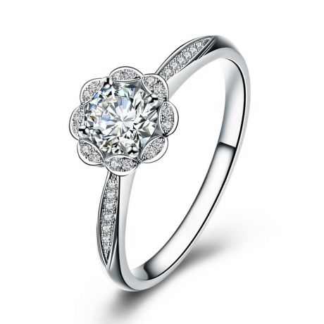 Bague solitaire diamants or blanc - Jasmin étoilé