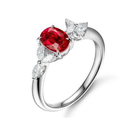 Anello di Fidanzamento La Esmeralda - Oro Bianco, Rubino & Diamanti