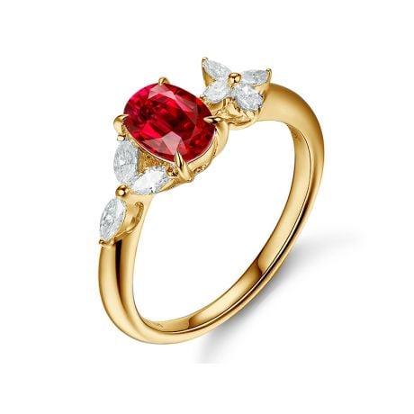 Anello di Fidanzamento La Esmeralda - Oro Giallo, Rubino & Diamanti
