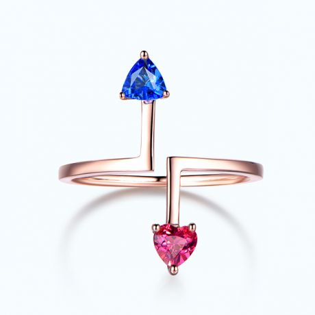 Bague Vice et Versa. Tourmaline, tanzanite. Or rose