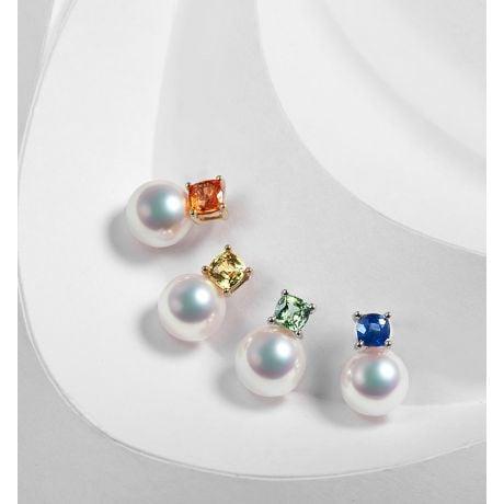 Pendentif Ginza. Mariage saphir et perle Akoya. Or blanc