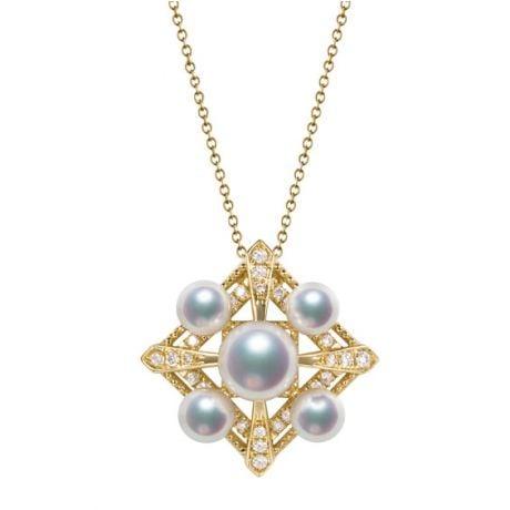 Pendentif Voyage stellaire I Perles Akoya Or jaune Diamants