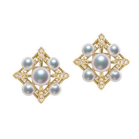 Boucles Oreilles Voyage stellaire. Or jaune Perle Akoya