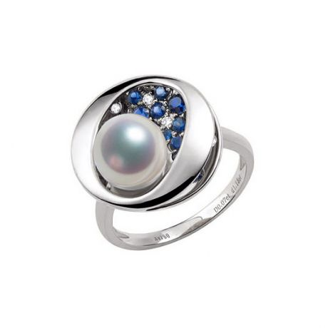 Bague Seiza Constellation I Perle Akoya, saphir, diamant I Or blanc