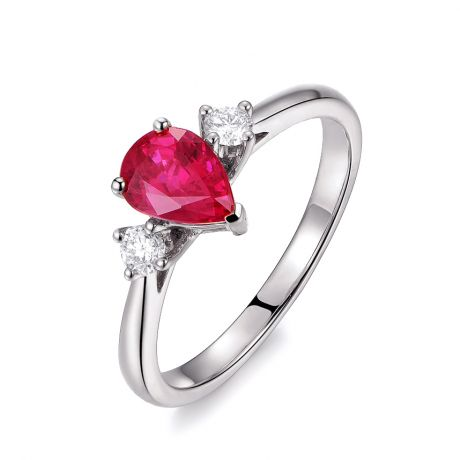 Bague Amour. Or blanc, rubis 1ct taillé en poire, diamants