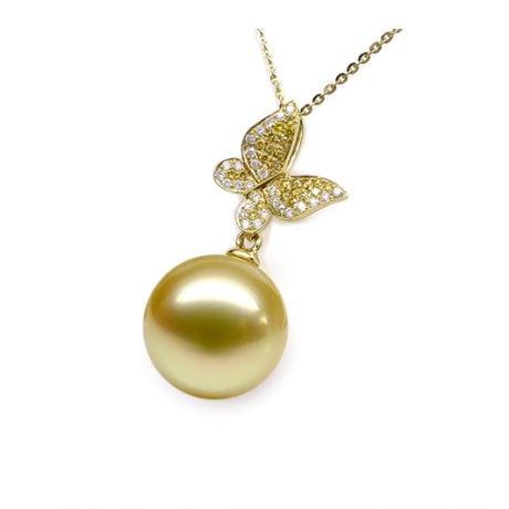 Ciondolo Farfalla Allegra. Oro giallo, Perla d'Australia dorata