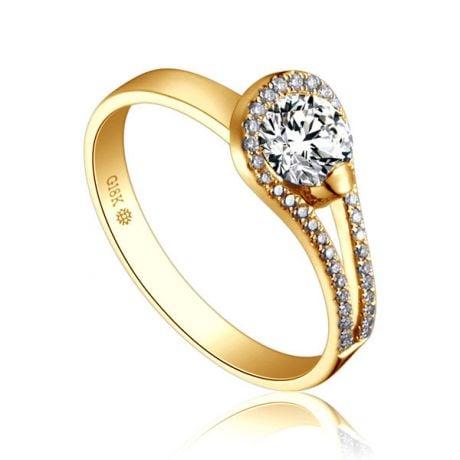 Anello Solitario Contemplations - Oro Giallo & Fascia Diamanti | Gemperles