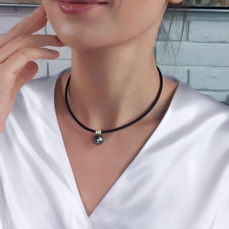 Collier Pendentif Mixe Or Jaune Diamant avec Perle de Tahiti