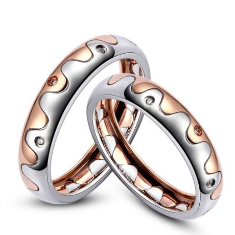 Alliances 2 ors - Alliances Homme, Femme - Or blanc, rose - Diamants