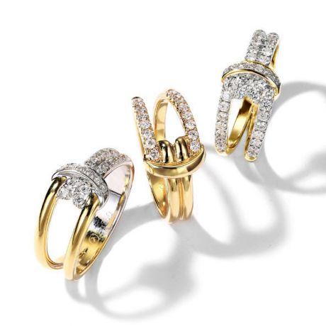 Bague Noeud Marin Or jaune, Diamants | Gemperles