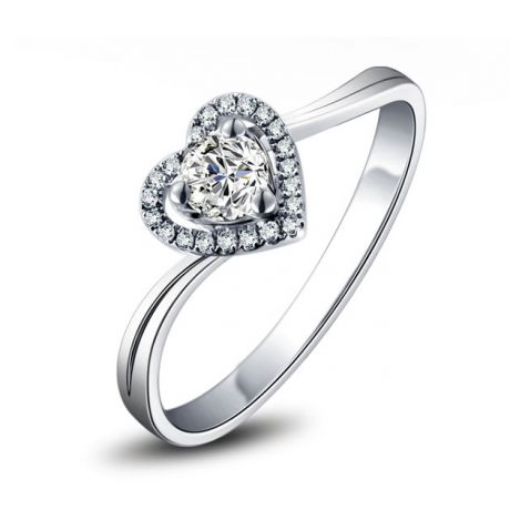 Bague Solitaire Mon Coeur en or blanc & Diamants | Gemperles