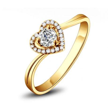 Bague Solitaire en or jaune & Diamants | Mon Coeur