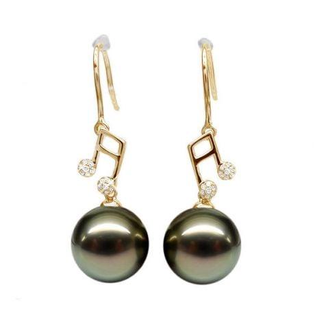 Orecchini Gancio Nota Musicale - Perle di Tahiti, Diamanti e Oro Giallo