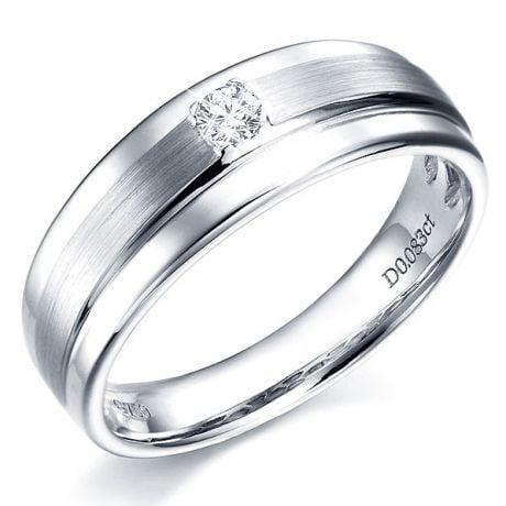 Anello Uomo - Oro bianco - Diamante 0.083ct