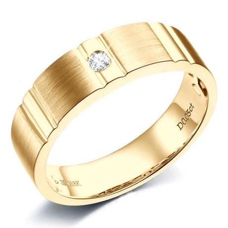 Anello Uomo con Diamante in Oro giallo Lucido & Spazzolato | Hamlet