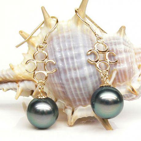 Orecchini Gancio Lesbos - Perle di Tahiti e Oro Giallo