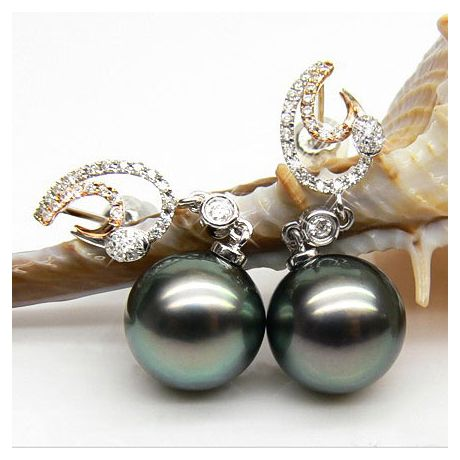 Boucles oreilles Prestige - perles de Tahiti - Or blanc, jaune, diamants