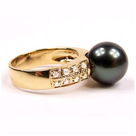 Anello oro giallo - Perla di Tahiti nera, pavone - 9.5/10mm