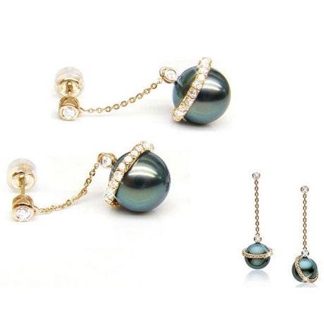 Boucles oreilles cercles diamantés - Perles de Tahiti noires - Or jaune