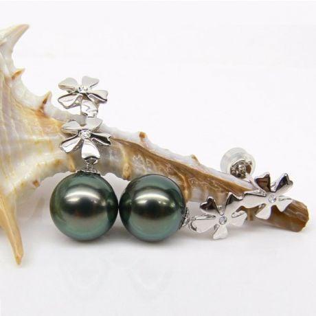 Orecchini fiori - Pendenti oro bianco - Perle di Tahiti nere, blu, verdi - 9/10mm