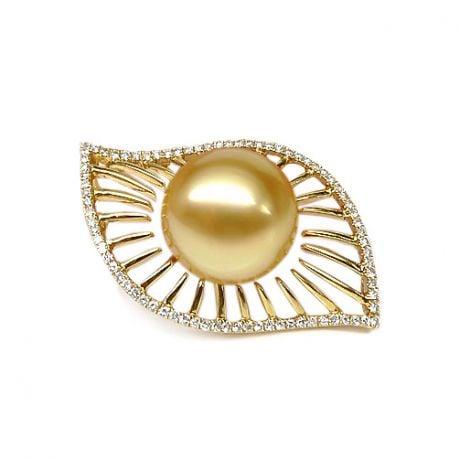 Ciondolo Egitto oro giallo - Perla Australia dorata - 12/13mm