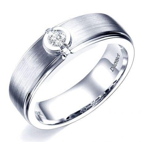 Anello Uomo in Oro bianco 18k e Diamante | Lorenzo