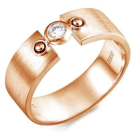 Bague chevalière or pour homme moderne - Anneau or rose - Diamant
