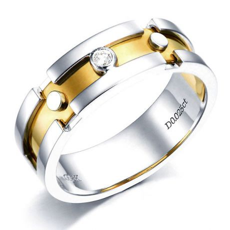 Bague Homme or enlacé - Or blanc et jaune - Diamant 0.025ct