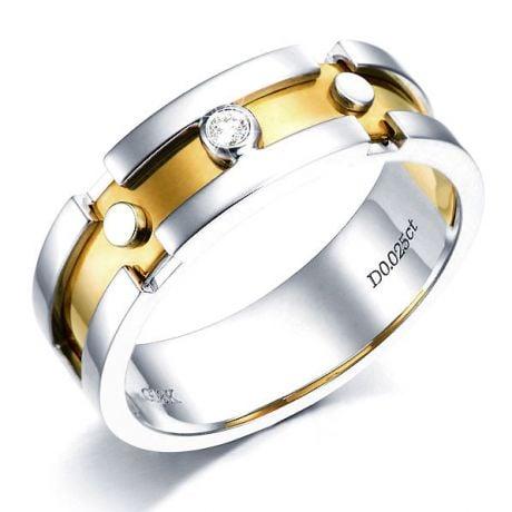 Anello Uomo - Oro bianco, giallo 7.50gr - Diamanti 0.025ct