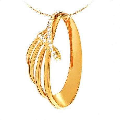 Ciondolo - Oro giallo 2.84gr - Diamanti 0.090ct