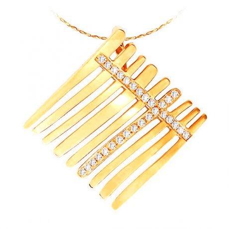 Pendentif barrettes d'or jaune croisées de 29 diamants sertis grains