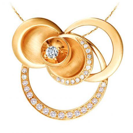 Courbes en diamants formant un pendentif or jaune - Diamant central