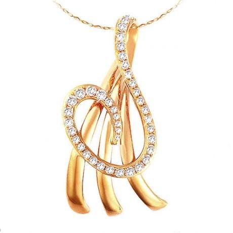 Ciondolo - Oro giallo 2.74gr - Diamanti 0.242ct