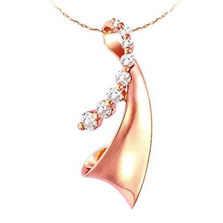 Pendentif or rose création moderne - Diamants sertis griffes 0.29ct