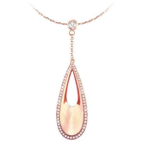 Ciondolo - Oro rosa 4.44gr - Diamanti 0.439ct