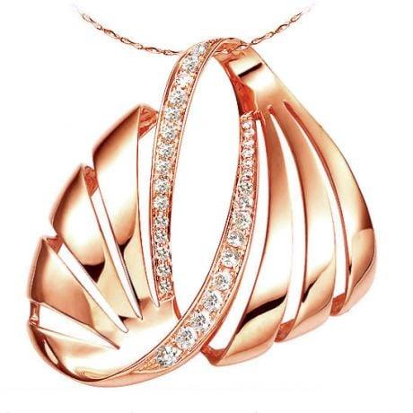 Ciondolo - Oro rosa 5.90gr - Diamanti 0.460ct