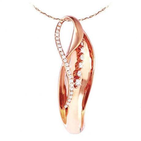 Ciondolo - Oro rosa 4.20gr - Diamanti 0.378ct