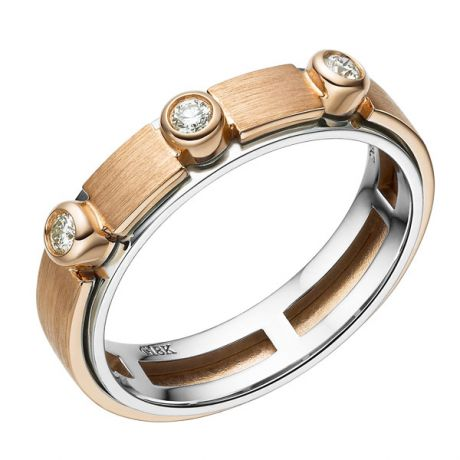 Anello per Uomo in Oro rosa e bianco, diamanti | Phède