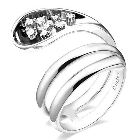 Anello Donna - Oro bianco 9.30gr - Diamanti 0.129ct